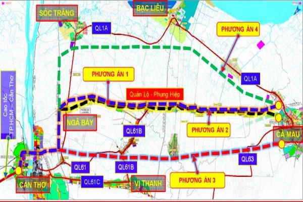 Bốn phương án hướng tuyến cao tốc Cần Thơ- Cà Mau, trong đó, phương án thứ ba được đề xuất chọn. Nguồn Ban quản lý dự án Mỹ Thuận. Ảnh chụp màn hình: Trung Chánh